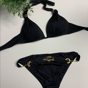 Victoria's Secret classic black bikini with gold